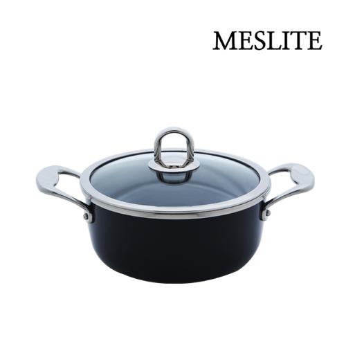 [메슬린] 메슬라이트 20cm 낮은(전골) 양수냄비 (네이비)