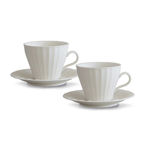 [광주요]사과형 설백 커피잔 24각 2조 세트 4P