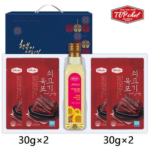 [탑셰프] 페트해바라기유 쇠고기육포30g4P(5종)트레이